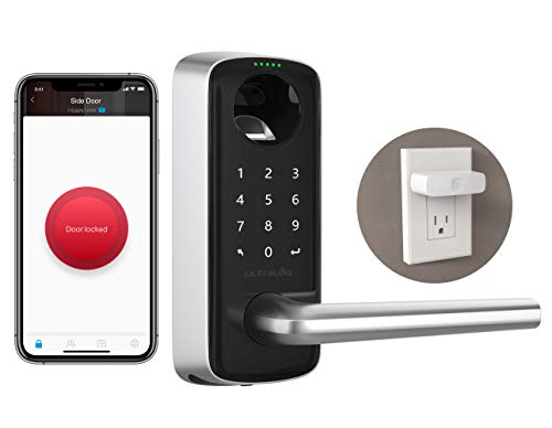 ULTRALOQ Lever The Most Advanced Smart Lock + Bridge WiFi Adaptor, Keyless Entry Bluetooth Fingerprint Digital Keypad Door Lock with Reversible Handle, Works with Alexa, Google Assistant, IFTTT