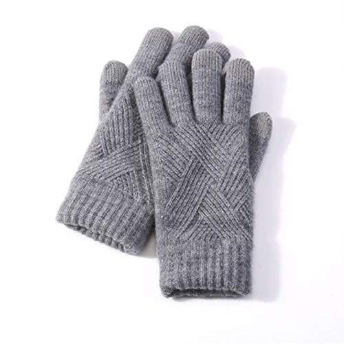 Guantes de Dedo Completo Tejidos cálidos de Invierno para Mujer, Guantes de Pantalla táctil sólidos para Hombre, Guantes de conducción Gruesos y cálidos para Ciclismo-Dark Gray