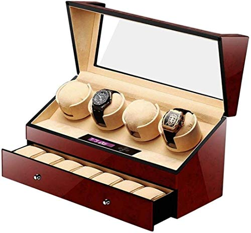 Modischer Trend; hohe Kosten-Performance; automatische Uhrenbeweger für 4 Uhren; 4 + 6 Holzbatterie; leiser Uhrenbeweger; Displayaufbewahrung; Braun