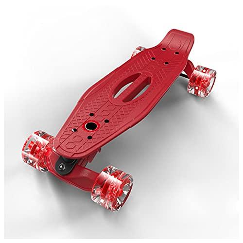 LYLSXY Skateboard Completo Patín Plástico Ruedas De PU para Niños Adultos Principiantes Chicas Niños Mejor (Color : Red)