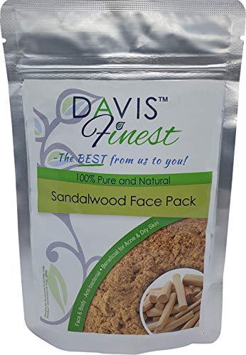 Davis Finest Sandalwood Powder for Face Mask, Skin Lightening, Brightening, Even Skin Tone, Moisturising Facial Treatment for Sensitive, Dry, Acne Prone Skin 100g