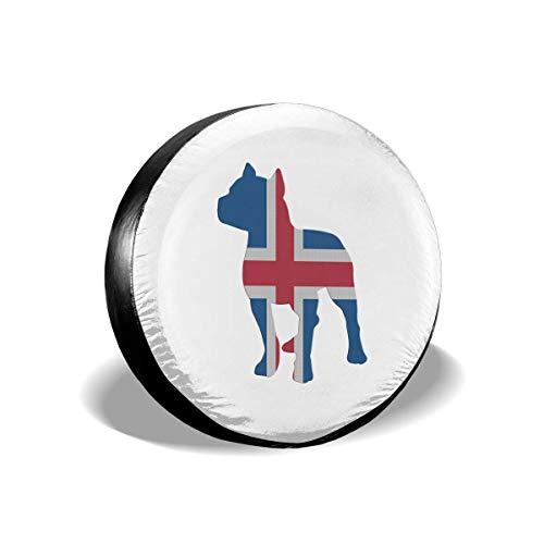 Enoqunt Patriottische Pitbull IJsland Vlag Spare Wiel Band Cover Fit voor Jeap RV Trailer en Veel Voertuigen