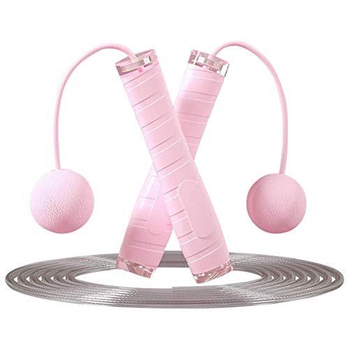 SHELOFT Cuerda de saltar ajustable 2 en 1 sin cuerdas para saltar, comba de entrenamiento para fitness, comba de saltar inalámbrica pesada para hombres, mujeres y niños (rosa)