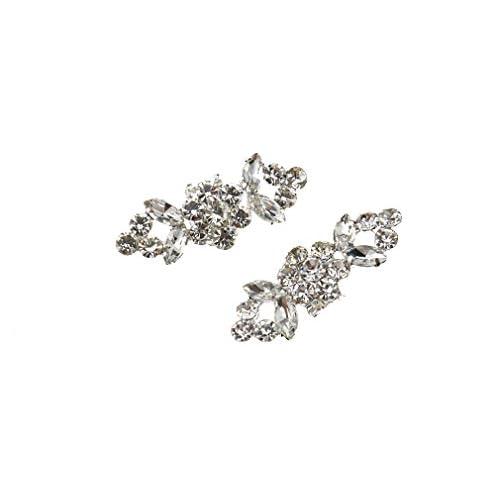 2x Clip di Cristallo Fascino Strass Fibbia Diamante Scarpe da Matrimonio Decorazione