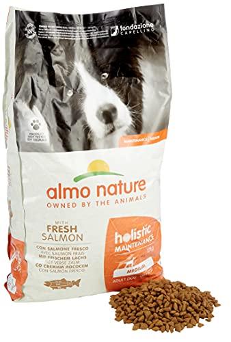 Almo Nature Cibo per cani olistico medio, con salmone fresco, 12 kg