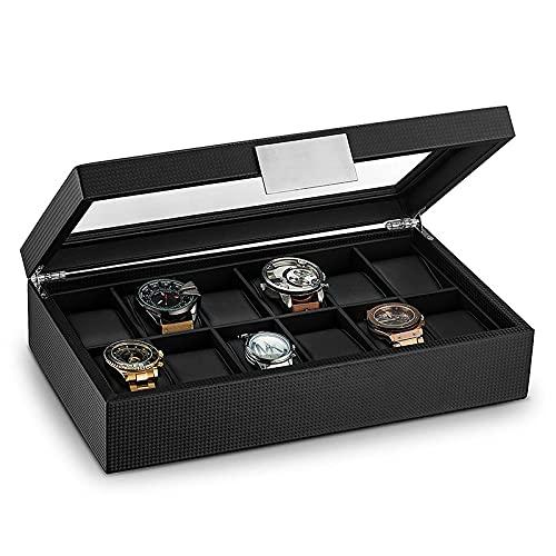 SMOOTHLY Caja de Reloj de Madera Grande con 12 Compartimentos para Hombres - Soporte de Vitrina de Vidrio - Bolsa de Almacenamiento para Hombres - Soporte de cojín de Cuero Negro