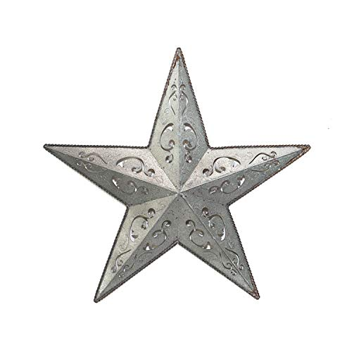 Galvanized Metal Lacy Barn Star 24 Rustic Gray Zinc Cut Out Tin Country Indoor Outdoor Christmas Home Decor Interior Exterior Lacey Tin Stars Decorations For House Walls Fence Porch Quality Gift Buy