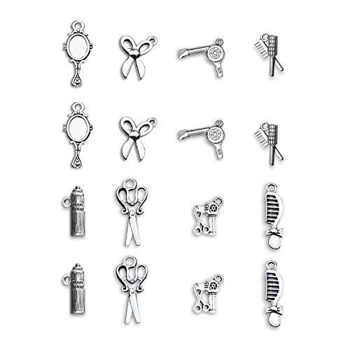 G-Ahora Abalorio de peluquería 16 Piezas para Pulsera, Llavero, Pendientes, Bricolaje, joyería de peluquería
