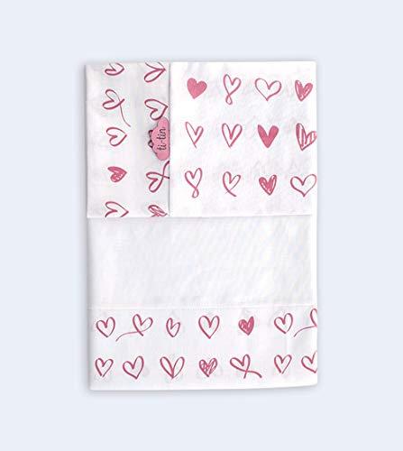 TI TIN Juego de sábanas para bebé   Estampado de CORAZONES en color rosa para cuna de 80 x 130cm   Fabricado 100% Algodón