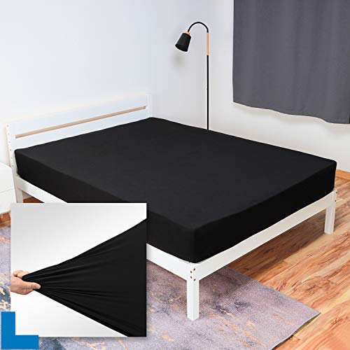 "Full Size Fitted Sheet Only - Stretch Jersey Knit & Non-Slip, Snug Fit for Double/Full, Full XL or RV/Camper Full Sized Mattress or Box Spring (Deep: 5"" to 16"") - Black"