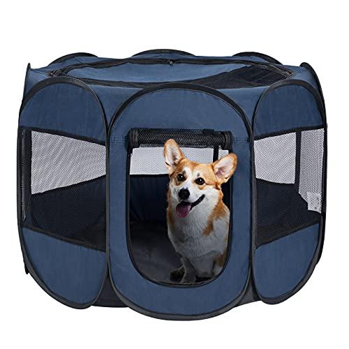 Wemk Pieghevole Box per Cani, Animali Box Portatile Impermeabile, Recinto per Animali con Borsa per Trasporto, Cuccioli, Coniglio, Gatti, Porcellini d'India (91x91x58cm)