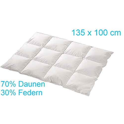 trautesheim Kinder-/Baby-Feder-/Daunen-Bettdecke Gesteppte Kassetten Daunen Decke in 135x100cm mit 400g Füllung - Wärmestufe 3 bis 4 - Bezug 100% Baumwolle - KEIN LEBEND-RUPF - 4-Jahreszeiten