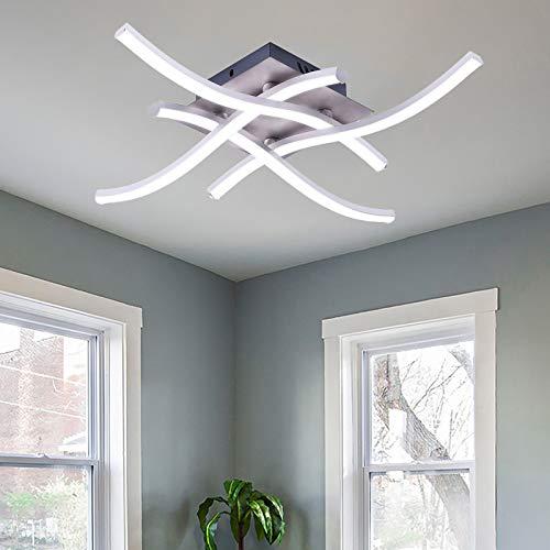 Lámpara de Techo, Lámpara de Araña Moderna de 28 W, Lámpara de Techo de Diseño Curvo Para Dormitorio, Con 4 piezas de luz Blanca Fría Ondulada Para Sala de Estar, Dormitorio, Comedor