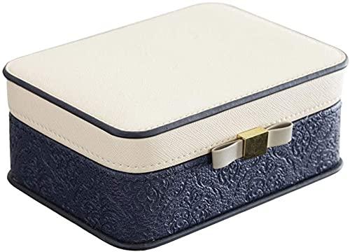 Exquisito viajes organizador de joyería de cuero pequeño joyería mini caja de joyería portátil para anillos Pendientes y collar Regalo para mujeres o niñas Caja de joyería (Color: Azul) (Color: Rosa)