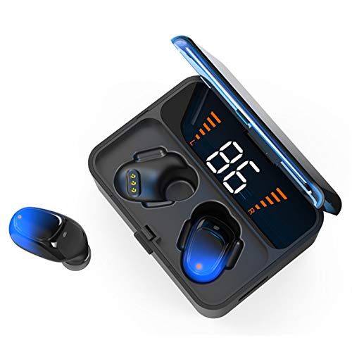 Wsaman Auriculares Inalambricos Deportes, Bluetooth Auricular Bluetooth In-Ear, con Estuche de Carga, para Deportes, Oficina en Casa Trabajo,Azul
