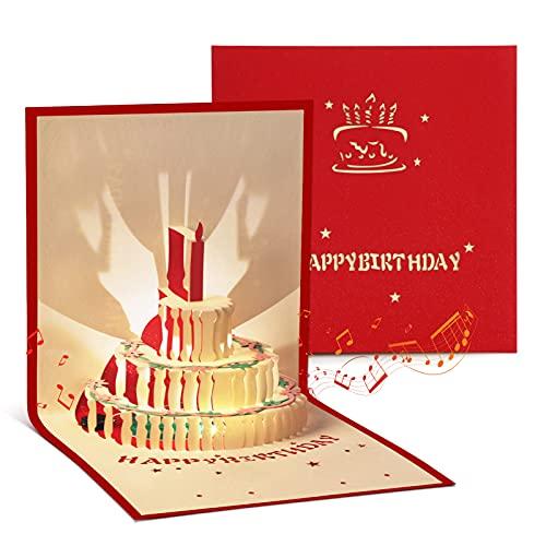 Dorart Biglietto Auguri Compleanno, Con Musica E Luce Buono Regalo 3D Pop Up, Biglietti Auguri Compleanno Per Bambini, Amica, Amore, Donna, Mamma, Busta Inclusa (Rosso)
