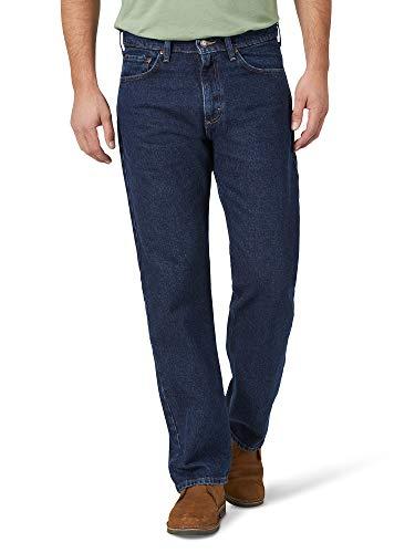 Wrangler Authentics Men's Classic 5-Pocket Relaxed Fit Cotton Jean, Dark Rinse, 42W X 30L