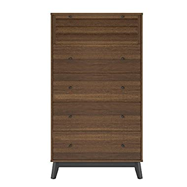Ameriwood Home 5994096COM Vaughn 5 Drawer Dresser, Walnut