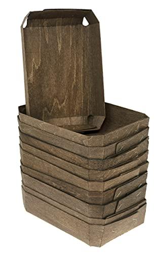Lashuma 10 Stück Spankörbe zum Befüllen, Dekokörbe eckig 20x14 cm, Geschenkkörbchen braun