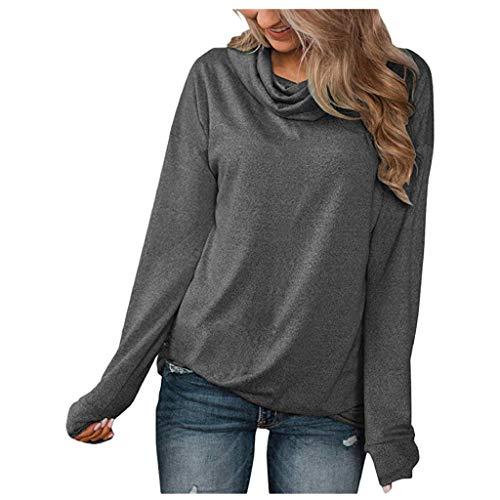 LSAltd Frauen Elegante Reine Farbe Hoher Kragen Slim Fit Pullover Bluse Beiläufige Einfache Langarmshirts Hemd