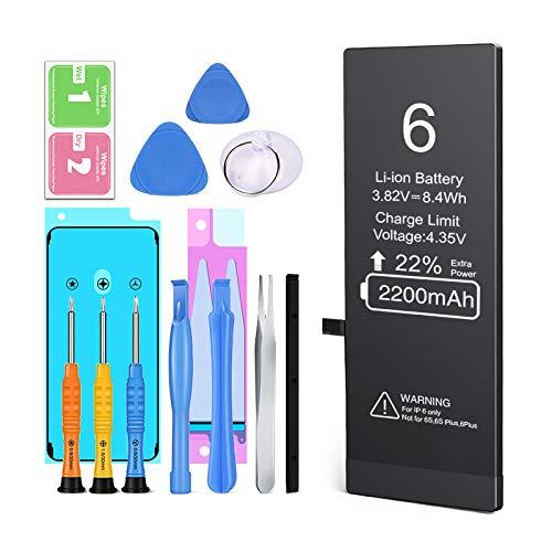 Ponoser Batería para iPhone 6 2200mAh con 22% más de Capacidad Que la batería y con Kits de Herramientas de reparación (2 años de garantía).