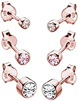 Elli Women's 925 Sterling Silver Rose Gold Plated Swarovski Crystals Stud Earrings