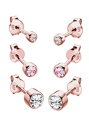 Elli Ohrringe Damen 3er Set Basic Stecker mit Swarovski® Kristalle in 925 Sterling Silber