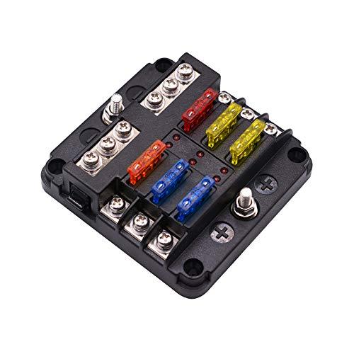 Kriogor 6 Fach Sicherungshalter, ATO Sicherungskasten, DC 12V-32V 100Amp Standard Sicherungsblock mit LED-Anzeige Schutzabdeckung für Auto KFZ Boot Marine SUV