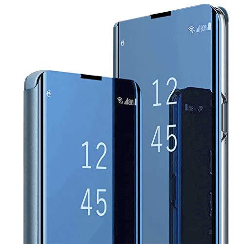 Hülle Kompatibel mit Galaxy S10 Plus hülle Galaxy S10e Handyhülle S-View Spiegel Smart Flip Case 360 Grad Tasche Galaxy S10 Cover Handy Shell Bumper Schutzhülle (Blau, Galaxy S10)