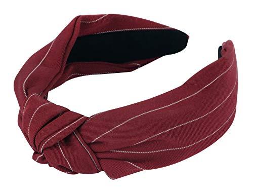 axy HR34b Stoff Haarreif mit Knoten - Vintage - Wunderschön Stirnband Haarschmuck (Rot)