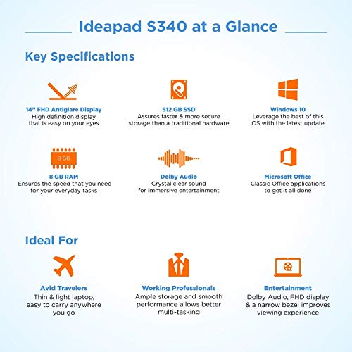 Lenovo Ideapad S340 8th Gen Intel core I5 14 inch FHD Thin and Light Laptop (8GB RAM/512GB SSD/Win 10 Home/Microsoft Office 2019 / Platinum Grey / 1.55Kg), 81N700LXIN