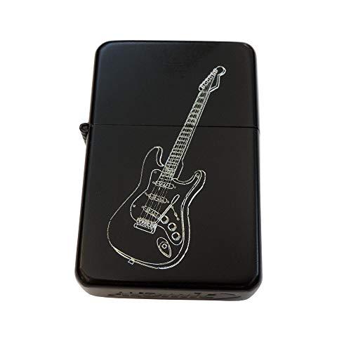 Matt schwarzes Benzinfeuerzeug Gitarre. Mit kostenloser Gravur auf der Vorderseite: E-Gitarre + Vornames oder Initialen auf der Rückseite