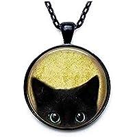 Trenro Cute Black Cat Necklace