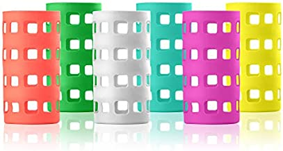Silicone Glass Water Bottle Sleeves - 6-Pack of Protective Holders 16-18 oz Capacity - Anti-Slip Protection for Beverage Containers - Insulating Carriers for Smoothies and Juices (Vibrant Colors)
