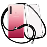 mtb more energy® Handykette kompatibel mit Samsung Galaxy A9 2018 (SM-A920, 6.3'') - schwarz - Smartphone Hülle zum Umhängen - Anti Shock Strong TPU Hülle