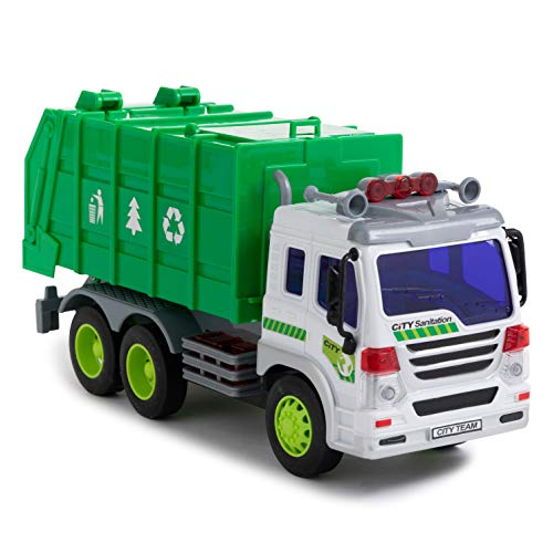 Garbage Truck Toy with Light & Sound – Dump Cleaning Trash Truck - Friction Powered Wheels & Openable Back - Heavy Duty Plastic Vehicle Toy for Kids & Children by Toy To Enjoy