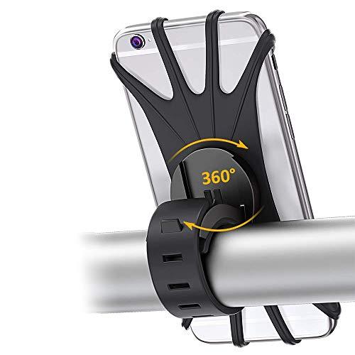 Ajeerd Suporte de telefone para bicicleta, 360° giratório de silicone, suporte estabilizador universal para guidão de motocicleta para iPhone/Android em alcance de 4 a 6,3 polegadas