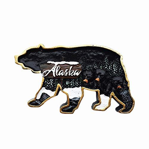 Imán para nevera con diseño de oso 3D de Alaska, hecho a mano para decoración del hogar y la cocina