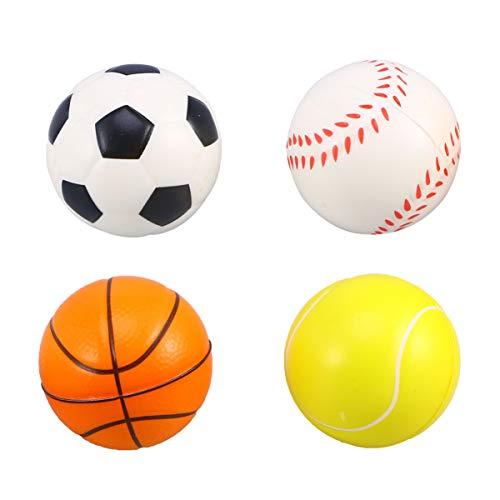 STOBOK 12 Pcs Mini Sports Bola Pequena Bola De Futebol Basquete Bola de Tênis de Beisebol Mão Que Joga O Brinquedo Saco Enchimentos de Guloseimas para As Crianças Adultos 6. 3Cm