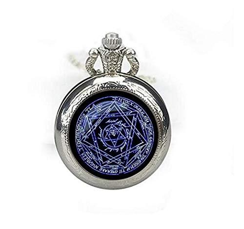 Reloj de bolsillo con colgante de signo mágico alquímico de Alchemic. Collar con reloj alquímico y joyas de pentagrama