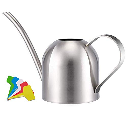 Liyahog Stainless Steel Watering Can Metal Watering Pot with Long Spout for Outdoor and Indoor House Plants (33oz)
