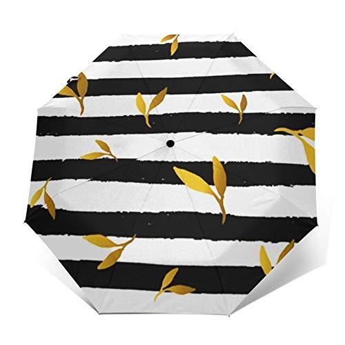 Regenschirm Taschenschirm Kompakter Falt-Regenschirm, Winddichter, Auf-Zu-Automatik, Verstärktes Dach, Ergonomischer Griff, Schirm-Tasche, Blattstreifen Fliesen festlich