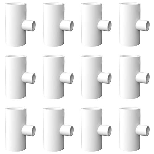 letsFix PVC Tee Fittings for Threaded Poultry Nipples/Poultry Bowls/Poultry Cups/Chicken Waterer - 1/2' Slip x 1/2' Slip x 1/8' FPT Sch40 PVC Fittings [12 Pack]