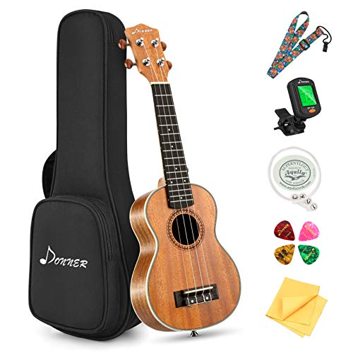 Donner Soprano Ukulele Beginner Kit 21 inch Ukelele Mahogany Wood with Free Online Lesson Gig Bag Strap Nylon String Tuner Picks Ukele Ukalalee Bundle Pack DUS-200