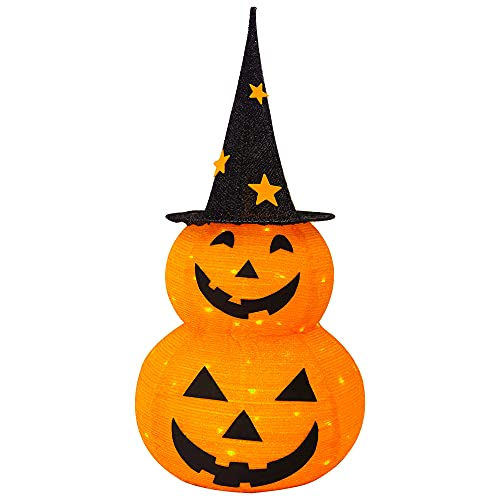 FUNPENY 3FT Halloween Collapsible Pumpkin Decorations, Pre-Lit Light Up 50...