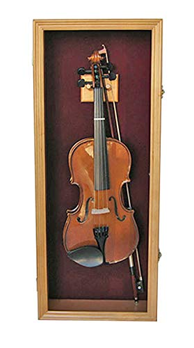Fiddle or 1/4-3/4 Acoustic Violin Display Case Shadow Box with Hanger, 29.5