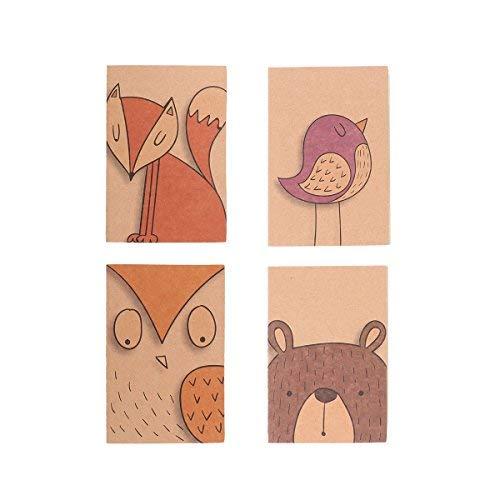 NUOLUX Mini taccuino blocnotes Bambini - quaderno Marrone Bianco Dentro Notebook (Serie di Animali)