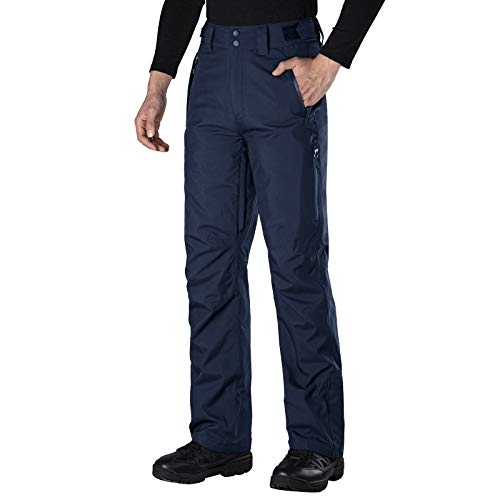 FREE SOLDIER Men's Waterproof Snow Insulated Pants Winter Skiing Snowboarding Pants with Zipper Pockets (Navy Blue Large(34-36)/32L)