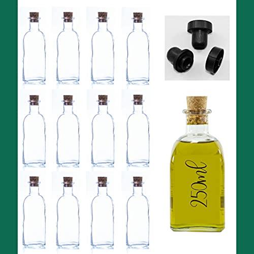 Botellas vacías de 250 ml Botella de Vino Botella de Licor Botella de Aceite Botella de vinagre de Cristal, 0,25 litros, Botella Corcho (12 Unidades)
