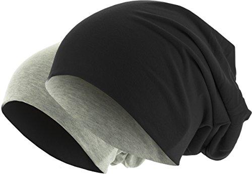 MSTRDS Unisex Erwachsene Jersey Beanie Reversible Strickmütze, Mehrfarbig (Black/ht.Grey 10377,3886), (one Size)